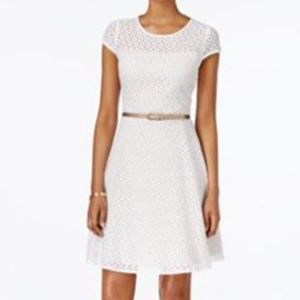 Jessica Howard - White Belted Lace A-Line Sheath D